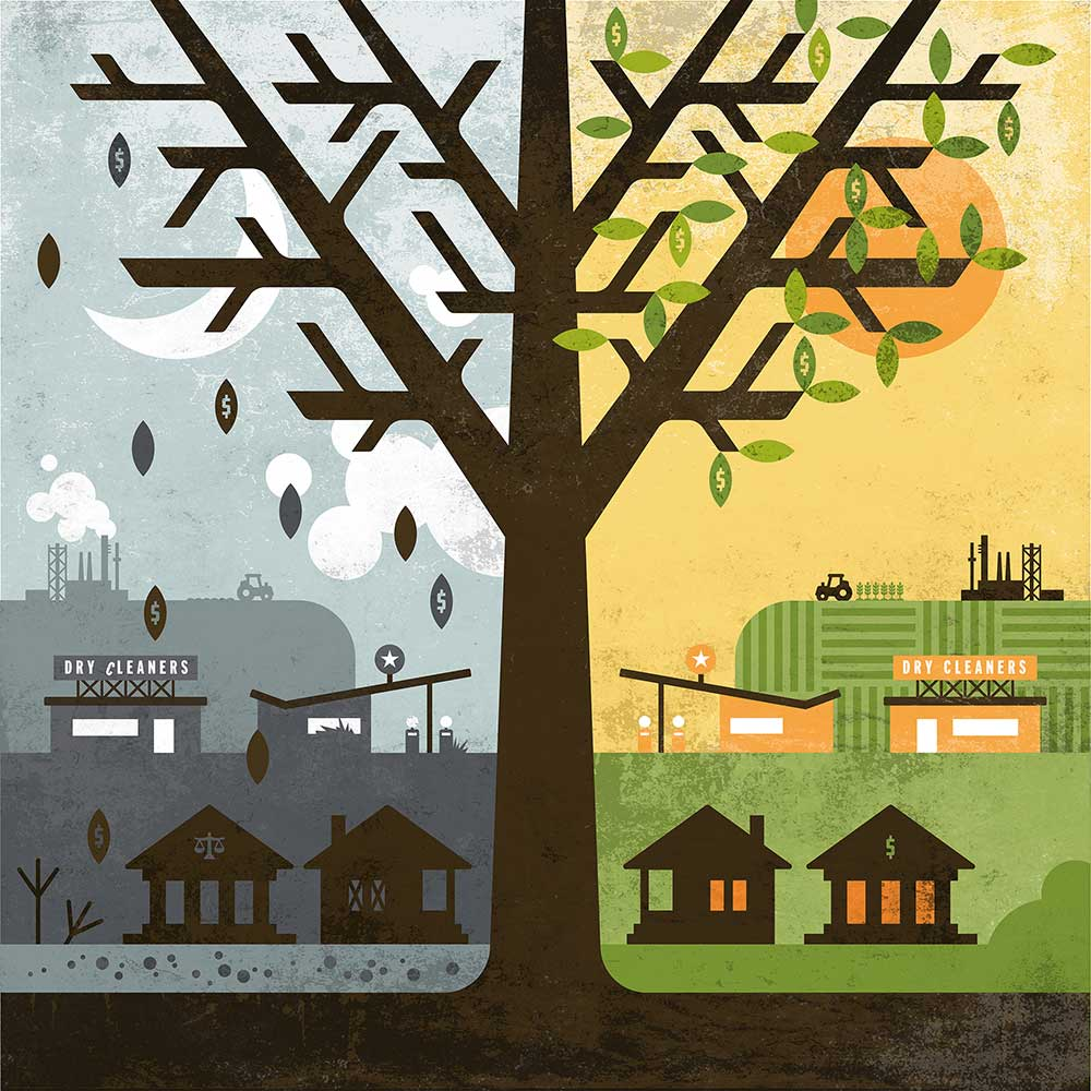 EnviroForensics' business concept illustrated with an infographic of a polluting industries before environmental contamination cleanup on the left side of the tree and after on the right.