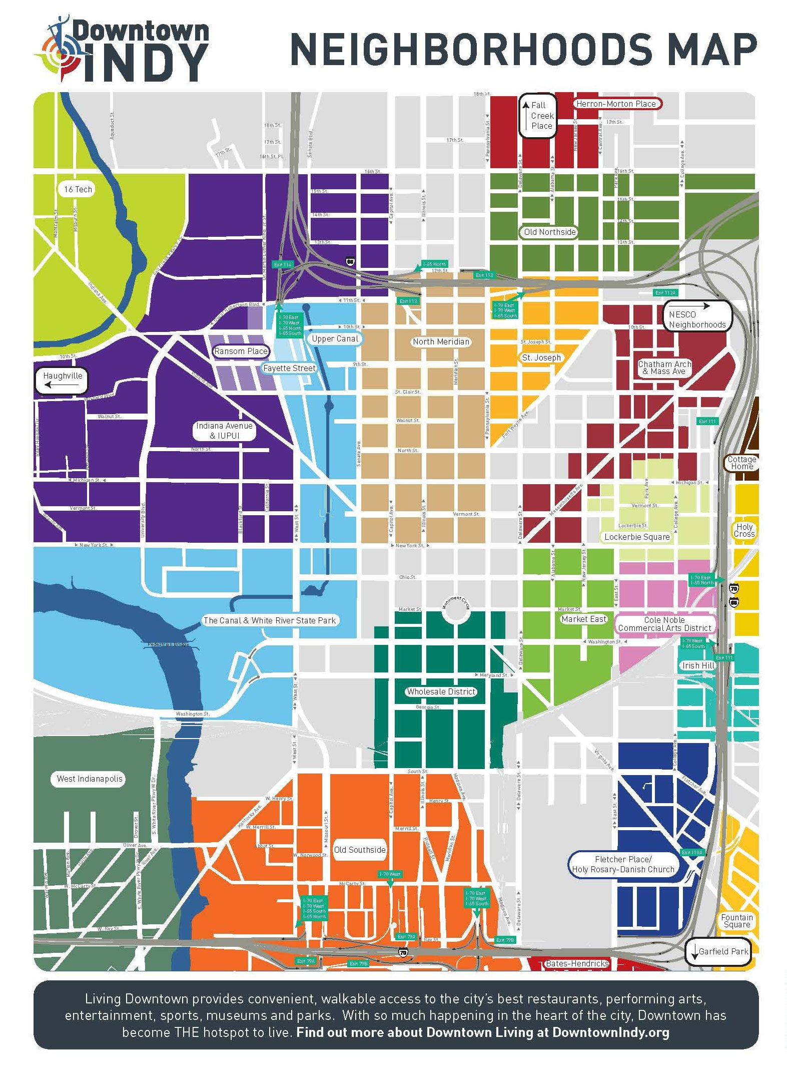 downtown-indy-neighborhoods-map | Soil and groundwater remediation on