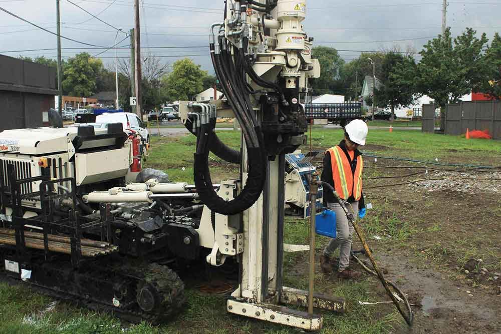 Geoprobe drill used to inject remedial chemicals into ground for in-situ remediation.