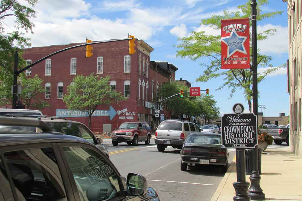 Image of Downtown Crown Point, Indiana.