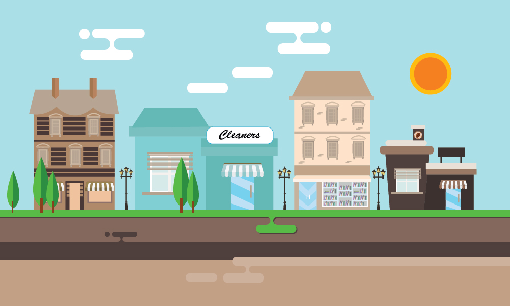 An illustrated concept of a strip mall with a drycleaner above a cross-section of the subsurface. This concept shows how environmental contamination impacts more than just the source area.
