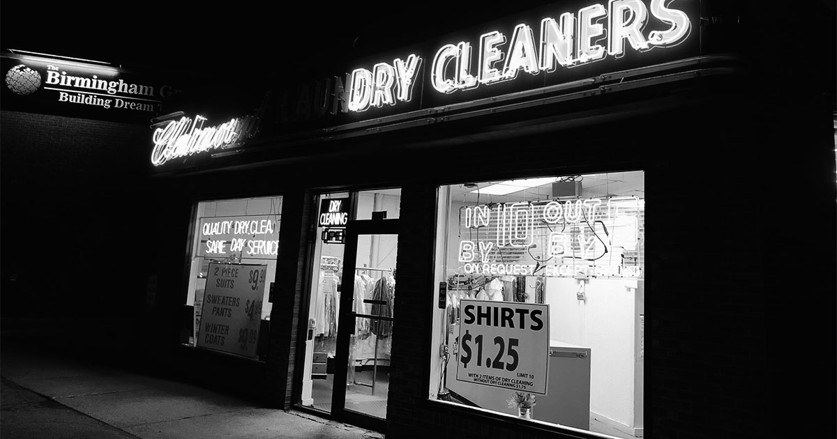 Black and white picture of a drycleaner