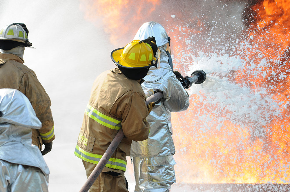 Fire crews battling fire with flame retardant foam which commonly contain PFAS