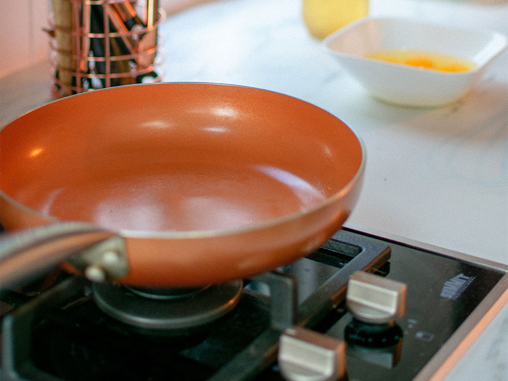 Non-stick pan that is potentially treated with PFAS