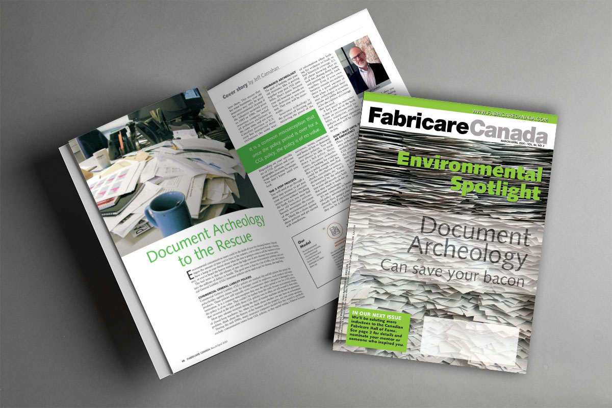 Picture of open issue and front cover of Fabricare Canada