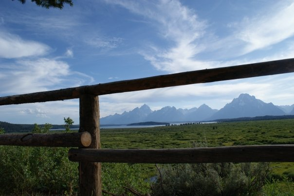 Picture of mountains in the Grand Teton National Park framed by a split rail fence