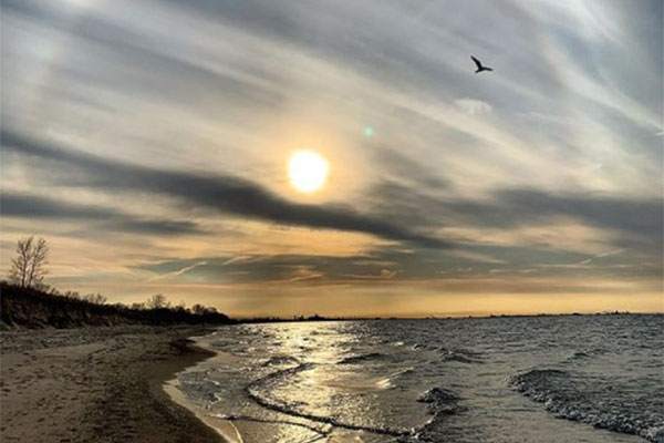 Picture of shoreline at sunset with Chicago skyline in the distance taken from the Indiana Dunes National Lakefront