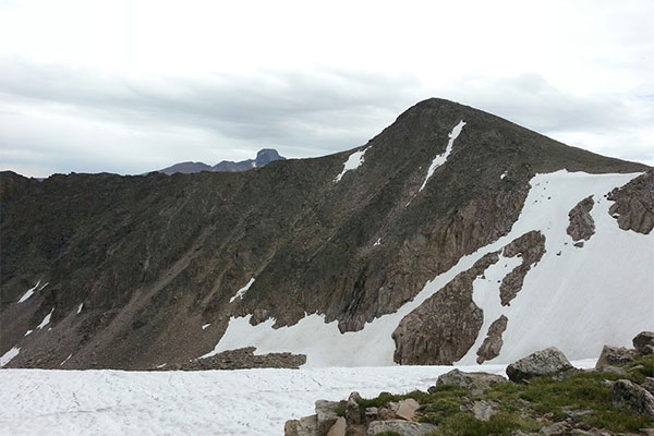Picture of glacial snow in the Rocky Mountain National Park