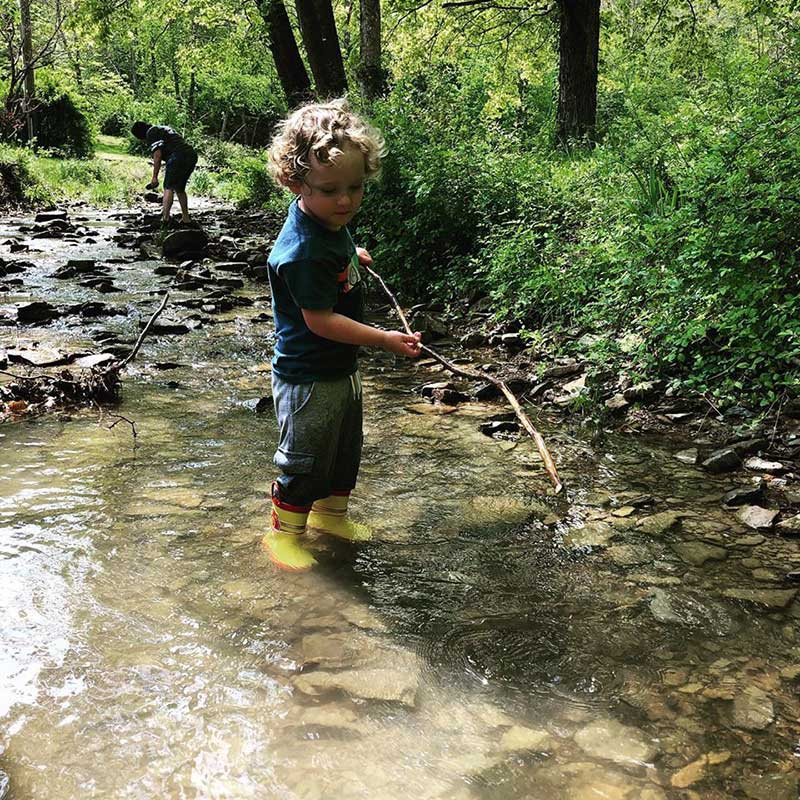 Boy standing in a creek with long branch in hands
