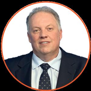 Headshot of David Hoffman in Orange Circle Frame