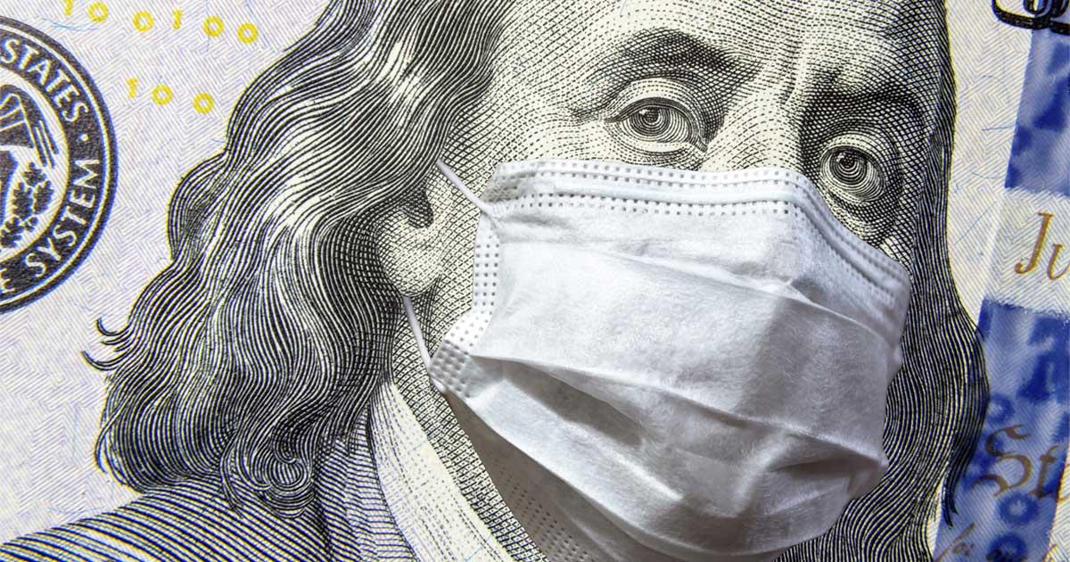 Benjamin Franklin Hundred Dollar Bill With Pandemic Mask